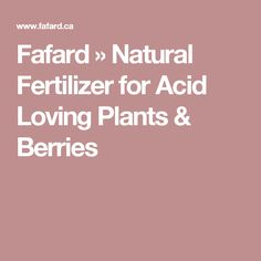 Fafard » Natural Fertilizer for Acid Loving Plants & Berries