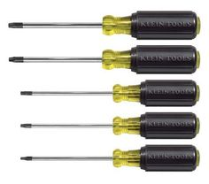 Klein Tools - Cushion-Grip Screwdriver Set - Exceptionally strong heat-treated tempered steel screwdrivers, this is a selection of the most frequently used. Easy to identify tip type. Phillips Screwdriver, Screwdriver Set, Klein Tools, Electrical Tools, Jewelry Tools, Woodworking Tips, Popular Woodworking, Woodworking Furniture, Wood Furniture