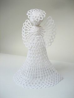 White tall crochet angel. Angel decoration. Christmas by linzes