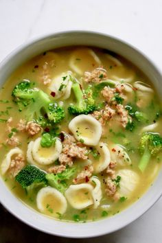 Broccoli and Chicken Sausage Soup with Orecchiete – Substitute pasta with cauliflower rice or zoodles Sausage Soup, Chicken Sausage, Keto Chicken, Chicken Soup, Good Food, Yummy Food, Tasty, Cooking Recipes, Healthy Recipes