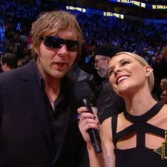 WWE Superstar Dean Ambrose (Jonathan Good) being interviewed by his girlfriend WWE announcer Renee Young (Renee Paquette) at the 2016 WWE Hall of Fame ceremony Wrestling Stars, Wrestling Wwe, Jonathan Lee, Wwe Seth Rollins, Wwe Couples, Paige Wwe, Wwe Roman Reigns, Mma Training, Wrestling Superstars