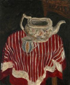 zygmunt bukowski, still life with striped cloth, teapot and jug, c.1949. oil on canvas, 50 x 40.5 cm. eca part of university of edinburgh fine art collection, uk  http://www.bbc.co.uk/arts/yourpaintings/paintings/still-life-with-striped-cloth-teapot-and-jug-225892