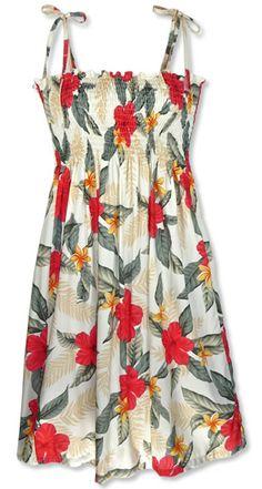 d408905e49 Moonkiss Makaha Cream Smocked Hawaiian Dress Island Wear