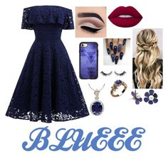 """Blueee"" by aleezak04 on Polyvore featuring Lime Crime and Casetify"