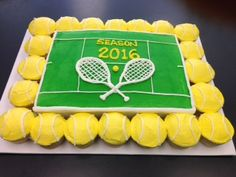 Tennis cake with ball cupcakes