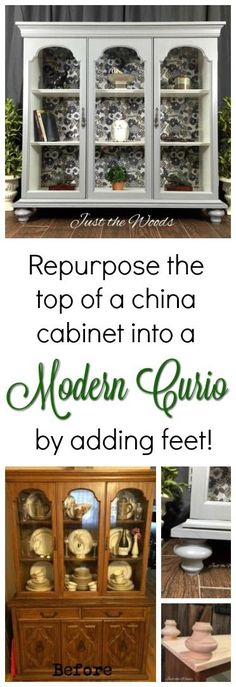 Dont toss that top from your china cabinet. Too often we like to save the bottom for a buffet and toss the top. You can repurpose the top section of a china cabinet, just add feet and turn it into a curio cabinet!