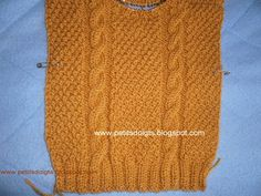 Petits doigts: Pull à torsades en 6/9 mois Knitting Patterns Free, Free Pattern, Pullover, Knitted Hats, Babys, Couture, Easy Knitting, Breien, Babies