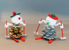 How to Make a Pinecone Skier Craft Day, an easy Pine cone Skier Materials Required: pine cone 2 round toothpicks 2 mini Popsicle sticks red ...