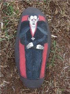 Vampire Count Dracula in coffin Halloween handpainted by RocksOK