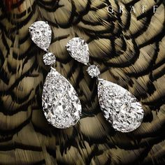 Flights of fancy A truly timeless design featuring pearshape and round D Flawless diamond earrings with a total of over 53 carats.