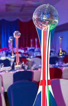 British / Union Jack Bases U0026 Mirror Ball Table Centre | Firebird Events