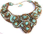 beaded blue bib necklace