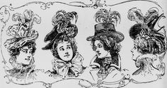 Elaborate hats. From the Seattle Post-Intelligencer c. late 1890s.