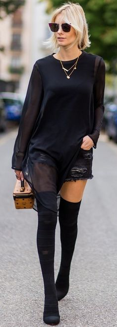 60 Trending Street Style Outfits To Try Right Now All Black Everything Chic Outfits, Fashion Outfits, Women's Fashion, Pretty Girl Swag, Floral Denim, Young Fashion, Autumn Street Style, Street Outfit, Business Fashion