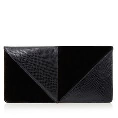 United Nude Kiko Black Leather Clutch (4,205 DOP) ❤ liked on Polyvore featuring bags, handbags, clutches, purses, sacs, leather handbag purse, leather man bags, purse clutches, embossed leather purse and leather hand bags