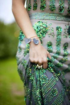 Green beaded dress by Jenny Packham, love the detail shot