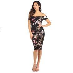 Black Floral Shine Midi Dress