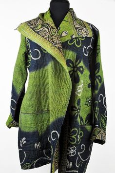 Mieko Mintz pocket kantha jacket - green, navy: