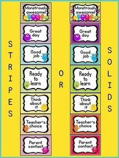 "~ Monster Theme Behavior Clip Chart ~ This adorable behavior chart will go great with any monster theme classroom décor! A great way to manage behavior in the classroom. Each student has a clothespin with his or her name on it, and starts the day on ""Ready to learn"". Students move up or down the chart throughout the day based on individual behavior. In my classroom, students that end the day on ""Monstrously awesome"" earn ""Monster Money"", a FREE download in my store. $"