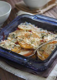 BUTTERNUT SQUASH AND CRANBERRY GRATIN http://www.runningtothekitchen.com/butternut-squash-cranberry-gratin/