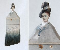 Old paintbrushes become the canvas in these creative portraits by Chinese American artist Rebecca Szeto. Paint Brush Art, Paint Brushes, Collages, Art Populaire, Found Object Art, Assemblage Art, Creative Portraits, Recycled Art, Community Art