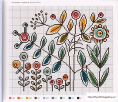 Modern flowers cross stitch -- would make great pillow