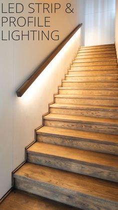 Treppenaufgang Interi Atilde Copy Ry In 2019 Stairway Lighting Stairs Stairs And Hallway Ideas, Basement Stairs, House Stairs, Basement Ideas, Drop Ceiling Basement, Interior Stairs, Home Interior Design, Stairway Lighting, Lights On Stairs
