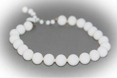 Chunky deco white glass choker necklace.