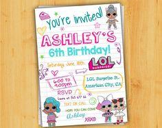 LOL SURPRISE birthday Invitation, LOL surprise Invitation,Lol surprise themed party,Lol surprise notebook invitation.Lol surprise teen