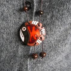 Brown and orange fish necklace  #Etsy #necklace #ceramics #pendant #jewelry #gifts #handmade