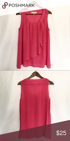 Michael Kors Pink Blouse Bright pink color will be a statement and Ruffle design is extremely flattering. In like new condition. MICHAEL Michael Kors Tops Blouses
