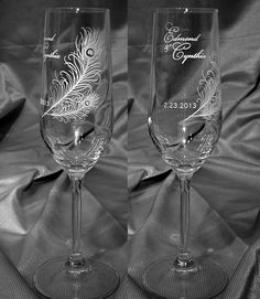 Peacock Feather Personalized Wedding Toasting Glasses by GlassMage, $29.95