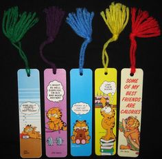 "GARFIELD Jim Davis - Vintage 1978 Lot of 5 Bookmarks 6"" with yarn tassels"