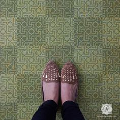 Painted and Stenciled Floor Stencils with Moroccan Craft Stencils - Royal Design Studio