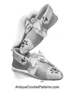 Ladies Crochet Slippers - Vintage Crochet Pattern