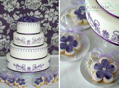 Violet floral wedding cake Violet Cakes, Beautiful Cakes, Floral Wedding, Wedding Cakes, Sugar, Chic, Ideas, Decor, Wedding Gown Cakes