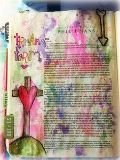 """Finally got January's Bible Journaling Challenge done!! This was fun. I wrote my Logos365 word on one of my focus verse pages (Philippians 1:6) and then drew the cross with heart and filled it in with watercolors and gel pens. If you would like to join us for our monthly challenges, click on the tab at the top of the page that says """"Bible Journaling Group"""" and join the free group."""