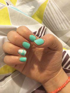 Classy Mint and white nail art