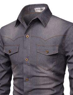 (NKTHS604) TheLees Mens Slim Fit Long Sleeve Spandex Washing Daily Denim Shirts