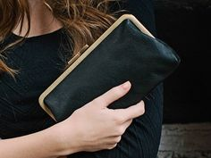 Leather Clutch / Black Clutch Purse / Crossbody Purse {Pochette Clutch : Black}, $75.00