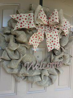 Cute Burlap Wreath with Big Bow!