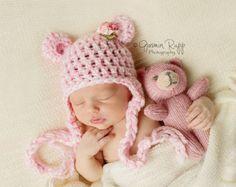 BEREIT-Baby Mädchen Hut - Baby Bear Hut weiß Tweed Rosa Teddybär mit Ohrenklappen & Ties - Flower Clip
