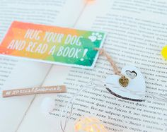 """Free Shipping - Handmade motivational bookmark """"Hug your dog and read a book"""", funny dog bookmark, I love my dog bookmark, gift for doglover"""