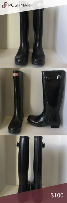 "Black Hunter Boot Size US 9 Black Hunter Boot with buckle on side Size US 9 AS IS IN PICTURES 1"" heel height (size 9). 15"" boot shaft height; 15 1/2"" calf circumference Waterproof. Handcrafted. In hot or humid weather, natural latex rubber releases a protective wax film; simply wipe it off with a damp cloth. A pristine finish and shine is easily restored with regular use of Hunter Boot Buffer or Instant Boot Shine. Rubber upper/textile lining/rubber sole. By Hunter; imported. Women's Shoes…"