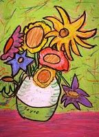 These look great... no matter how many times they've been done. oil pastel van gogh sunflowers