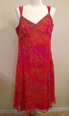 Reba 100% Silk Beaded Large Dress Floral Red Orange Sleeveless V-Neck Evening…