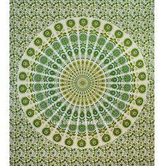 Green Multi Candid Medallion Mandala Wall Tapestry, Hippie Bedspread