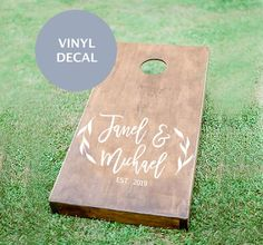 Cornhole Boards have become a staple at weddings these days. Take your Wedding Games up a notch with this personalized Wedding Monogram that is a Cornhole Boards Decal that you apply right to the top of your boards. Wedding Lawn Games make a great addition to your reception or cocktail hour.