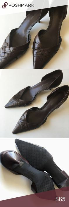 {Gianni Bini} Espresso Leather Pointed Toe Heels Beautiful & Comfortable Gianni Bini Espresso Leather Pointed Toe KittenHeels. Size 8 1/2M. Rubber bottoms for traction and comfort. Pretty basket weave detail on toes. A few scuffs as shown. Gianni Bini Shoes Heels