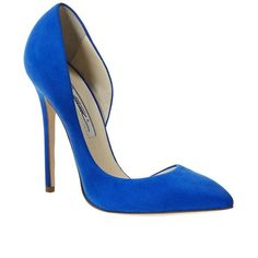 Brian Atwood Patty Suede d'Orsay Pumps ($325) ❤ liked on Polyvore featuring shoes, pumps, heels, sapatos, blue, blue heel pumps, heels & pumps, blue pumps, brian atwood shoes and d'orsay shoes